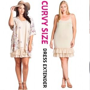 Plus Size Layered Ruffle Taupe Dress Extender